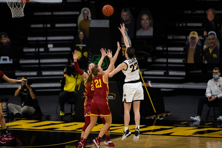 Iowa Guard Caitlin Clark shoots the ball during a women's basketball game between Iowa and Iowa State at Carver-Hawkeye Arena on Wednesday, Dec. 9,2020. The Hawkeyes defeated the Cyclones in a close game, 82-80.