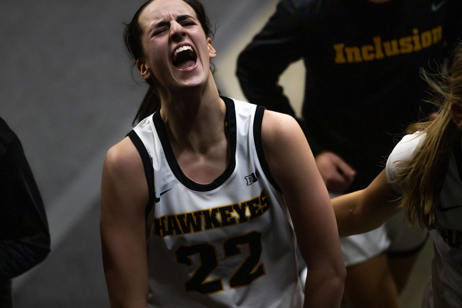 "Iowa Guard Caitlin Clark, who starts on Iowa's women's basketball as a true freshman, celebrates after an Iowa victory over Iowa State on on Wednesday, Dec. 9,2020. The Hawkeyes defeated the Cyclones in a close game, 82-80. While walking into the tunnel after the win over the Cyclones, Caitlin exclaimed ""this is a Hawkeye state."""