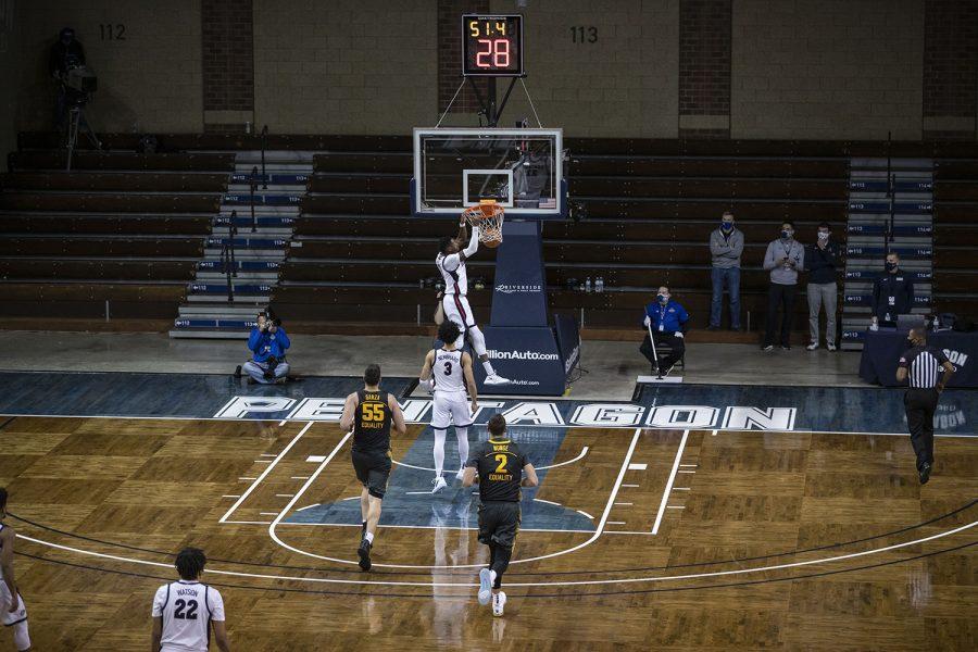 Saturday, Dec. 19, 2020; Sioux Falls, South Dakota, USA;  Gonzaga guard Joel Ayayi (11) dunks during the second half of the Iowa v. Gonzaga basketball game at the Sanford Pentagon. Gonzaga defeated Iowa with a score of 99-88.