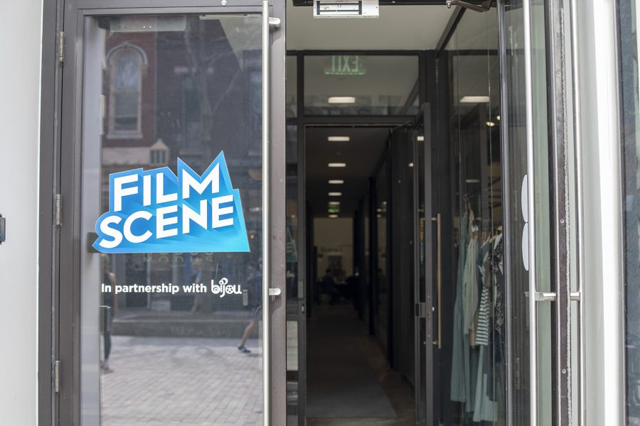 The entrance to Film Scene can be seen on Wednesday, April 16, 2019.