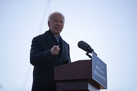 Democratic presidential candidate Joe Biden speaks during a Biden drive-in rally on Friday, Oct. 30, 2020 at the Iowa State Fairgrounds in Des Moines. Around 200 cars parked on the grounds and a few people gathered at the front as Biden commented on a change in the presidency and promised to address issues with public health due to the Coronavirus.