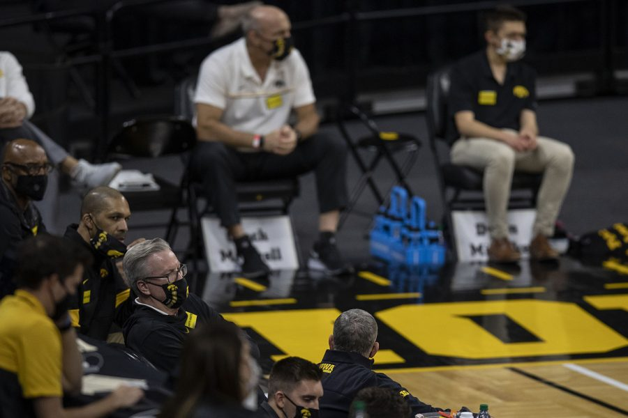 Head Coach Fran McCaffery sits on the sidelines during the Iowa v. Western Illinois basketball game in Carver-Hawkeye Arena on Thursday, Dec. 3, 2020. Iowa defeated Western Illinois with a final score of 99-58.