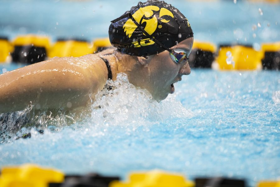 Iowa's Christina Kauffman competes in the 200 yard butterfly preliminaries during the sixth session of the 2020 Big Ten Women's Swimming and Diving Championships at the Campus Recreation and Wellness Center on Saturday, Feb. 22, 2020. Kauffman finished in 52nd with a time of 2:07.01. It was announced on Aug. 21 that four sports were being cut at the University of Iowa including men's and women's swimming and diving, men's gymnastics, and men's tennis.