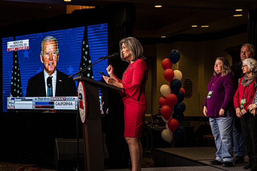 U.S. Sen. Joni Ernst R-IA speaks at the republican watch party at the Des Moins Marriott Downtown on Tuesday, November 3rd, 2020 . Republicans from across the state have gathered to watch the results of the 2020 General Election. (Tate Hildyard/The Daily Iowan)