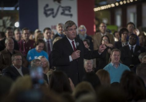Secretary of Agriculture Tom Vilsack speaks in favor of Hillary Clinton in Cedar Rapids on, Monday Jan 4, 2016. Tom Vilsack is an Iowa democrat that has served in office since 2009. (Jordan Gale/The Daily Iowan)