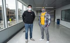 University of Iowa senior engineering students, Jake Robinson and Logan O'Brien pose for a portrait in the Seamans Center in downtown Iowa City on Wednesday, November 17th, 2020. Due to complication with COVID-19, they current class of graduating seniors will not have an in-person presentation at the end of the semester to showcase their capstone project, which is an important networking event for graduating seniors.