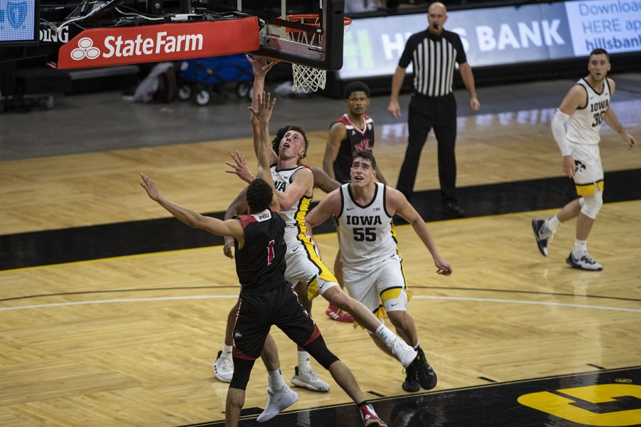 Iowa guard Joe Wieskamp goes for a layup during a basketball game against Northern Illinois on Sunday, Dec. 13, 2020 at Carver Hawkeye Arena. The Hawkeyes defeated the Huskies, 106-53.