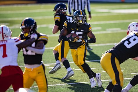 Iowa running back Tyler Goodson carries the ball during a football game between Iowa and Nebraska at Kinnick Stadium on Friday, Nov. 27, 2020. The Hawkeyes defeated the Cornhuskers, 26-20.