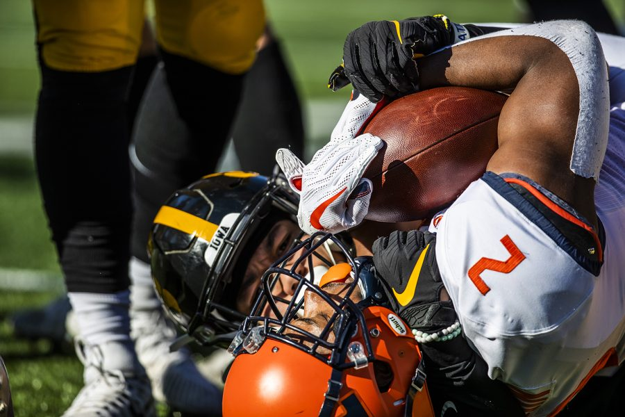 Illinois running back Reggie Corbin catches a pass during the football game against Illinois on Saturday, November 23, 2019. The Hawkeyes defeated the Fighting Illini 19-10. Corbin rushed 38 yards throughout the game.
