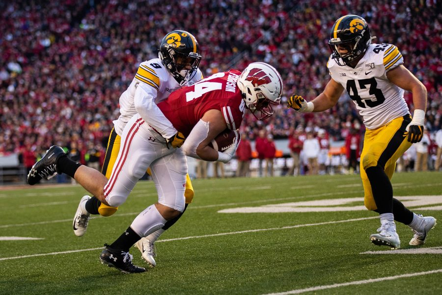 Iowa+defensive+back+Geno+Stone+makes+a+tackle+during+a+game+against+Wisconsin+at+Camp+Randall+Stadium+on+Saturday%2C+November+9%2C+2019.+The+Hawkeyes+were+defeated+by+the+Badgers+24-22.++The+Hawkeye+defense+had+a+total+of+67+tackles.+