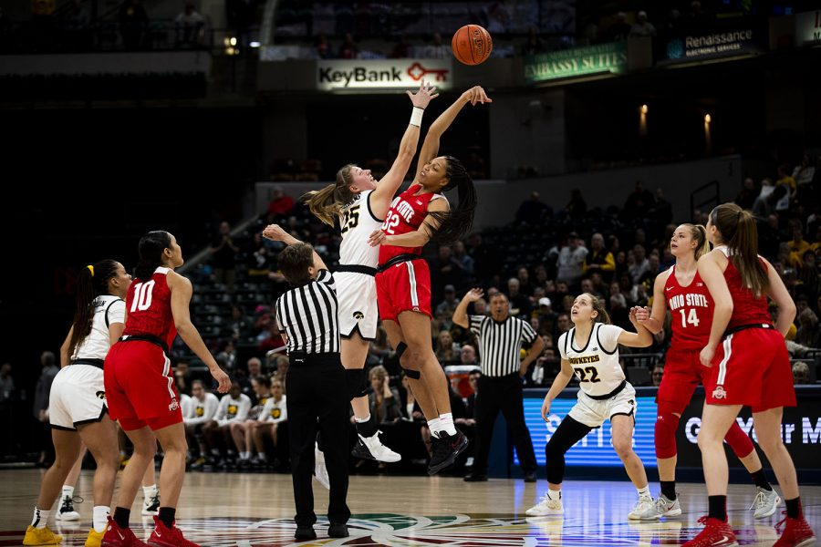 Iowa+forward+Monika+Czinao+and+Ohio+State+forward+Aailyah+Patty+jump+for+the+tip-off+during+the+Iowa+vs.+Ohio+State+Women%27s+Big+Ten+Tournament+game+at+Bankers+Life+Fieldhouse+in+Indianapolis+on+Friday%2C+March+6%2C+2020.+The+Buckeyes+defeated+the+Hawkeyes+87-66.
