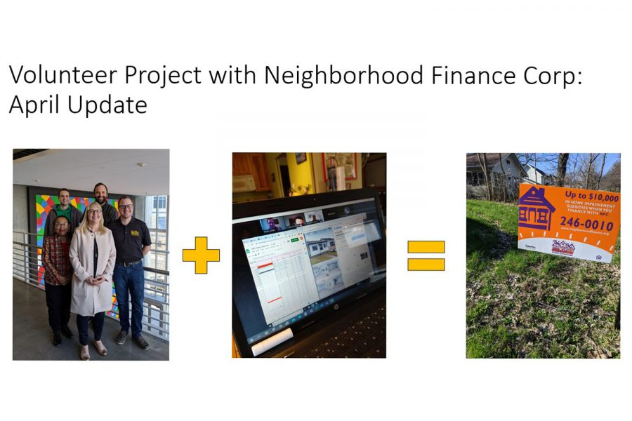 Photo of the slide presentation for the volunteer project with NFC.