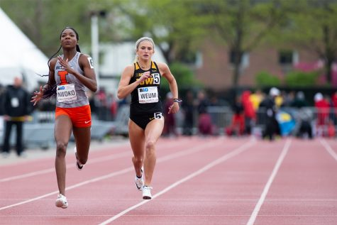 University of Iowa Sophomore, Aly Weum, competes in the 400 meter dash preliminaries during the second day of the Big Ten Track and Field Outdoor Championships at Cretzmeyer Track on Saturday, May, 2019. Weum placed tenth in the 400 meter dash preliminaries.