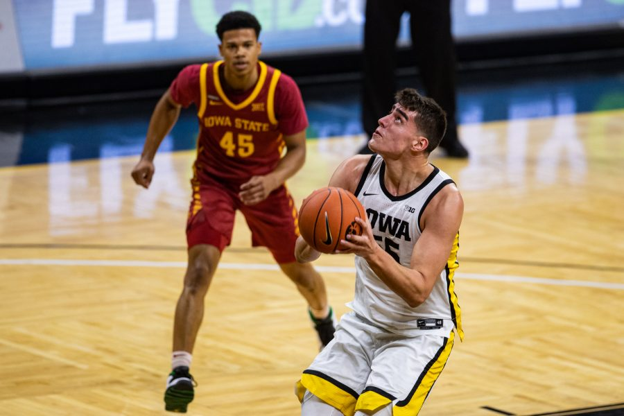 Iowa forward Luka Garza looks to shoot during a men's basketball game between Iowa and Iowa State at Carver-Hawkeye Arena on Friday, Dec. 11, 2020. The Hawkeyes defeated the Cyclones, 105-77.