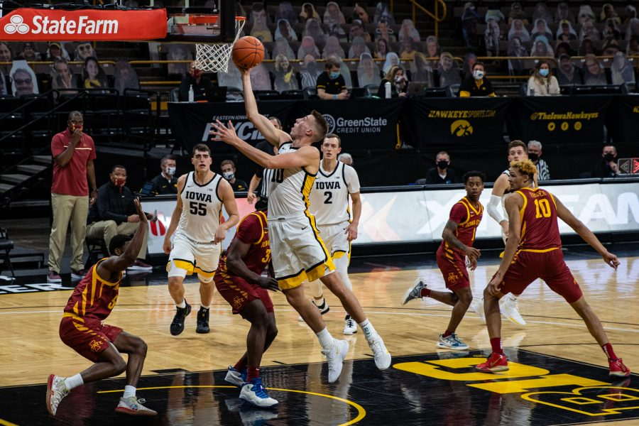 Iowa guard Joe Wieskamp drives to the rim during a men's basketball game between Iowa and Iowa State at Carver-Hawkeye Arena on Friday, Dec. 11, 2020.