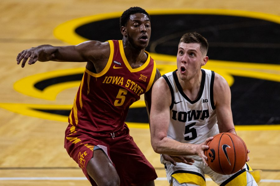 Iowa guard CJ Fredrick looks to shoot during a men's basketball game between Iowa and Iowa State at Carver-Hawkeye Arena on Friday, Dec. 11, 2020. Fredrick played for 26:10 in the game.