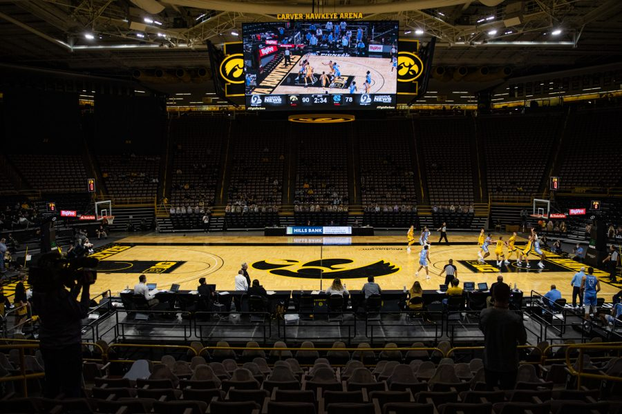 Action is underway during a men's basketball game between Iowa and North Carolina at Carver-Hawkeye Arena on Tuesday, Dec. 8, 2020.