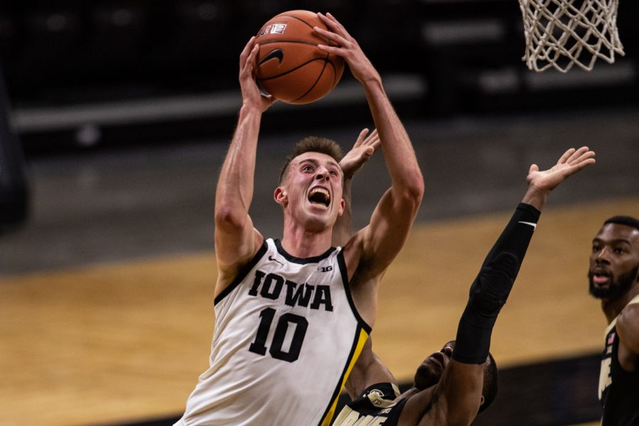 Iowa guard Joe Wieskamp lays the ball up during a men's basketball game between Iowa and Purdue at Carver-Hawkeye Arena on Tuesday, Dec. 22, 2020.