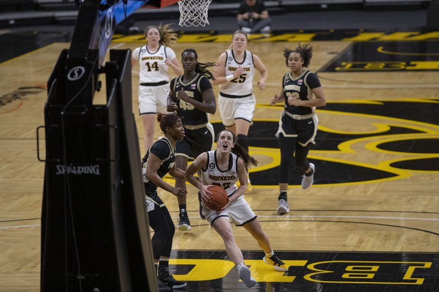 Iowa guard Caitlin Clark goes for a layup during a women's basketball game against Purdue on Monday, Jan. 18, 2021 at Carver Hawkeye Arena. The Hawkeyes defeated the Boilermakers 87-81.