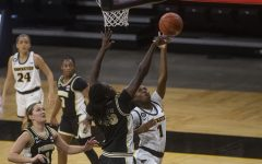 Iowa guard Tomi Taiwo goes for a layup during a women's basketball game against Purdue on Monday, Jan. 18, 2021 at Carver Hawkeye Arena. The Hawkeyes defeated the Boilermakers 87-81.