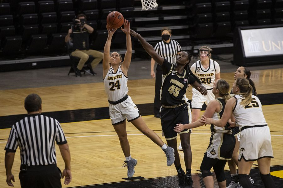 Iowa guard Gabbie Marshall shoots a basket during a women's basketball game against Purdue on Monday, Jan. 18, 2021 at Carver Hawkeye Arena. The Hawkeyes defeated the Boilermakers 87-81.