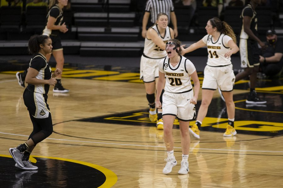 Iowa+guard+Kate+Martin+shouts+during+the+last+quarter+of+a+women%27s+basketball+game+against+Purdue+on+Monday%2C+Jan.+18%2C+2021+at+Carver+Hawkeye+Arena.+The+Hawkeyes+defeated+the+Boilermakers+87-81.