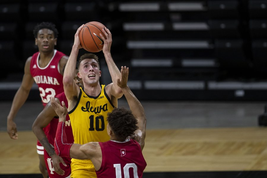 Iowa guard Joe Wieskamp shoots a basket during the first half of a men's basketball game against Indiana on Thursday, Jan. 21, 2021 at Carver Hawkeye Arena. The Hawkeyes are leading over the Hoosiers, 37-31.