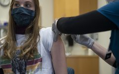 UI nursing student Macy Griebel receives the Moderna vaccine for COVID-19 on Friday, Jan. 29, 2021 at the UI Medical Education Research Facility.