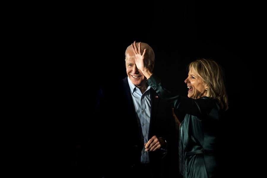 Former Vice President Joe Biden and Dr. Jill Biden wave during the watch party for Former Vice President Joe Biden at the Olmstead Center at Drake University on Monday, February 3, 2020. Hundreds of people attended the event to hear Biden speak on the results of the caucus.