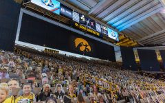Fan cutouts placed in Carver-Hawkeye Arena due to Covid-19 seen before the Iowa Volleyball season opener game against Illinois on Jan. 22, 2021 at Carver-Hawkeye Arena. Illinois defeated Iowa 3-1.