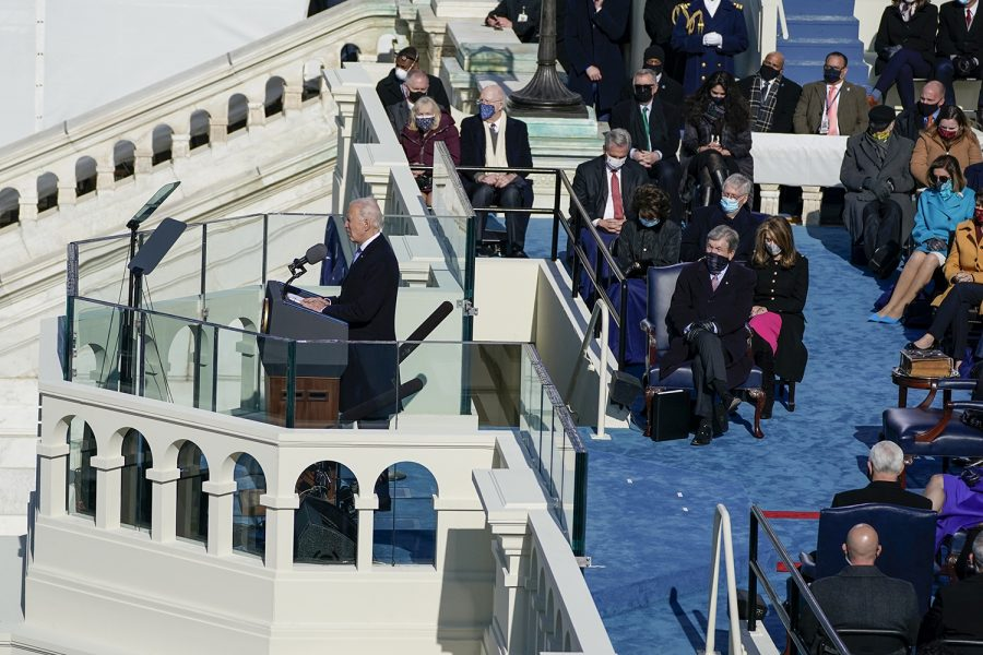 President Joe Biden delivers his inaugural address on the West Front of the U.S. Capitol on Wednesday, Jan. 20, 2021, in Washington, D.C. (Kent Nishimura/Los Angeles Times/TNS)