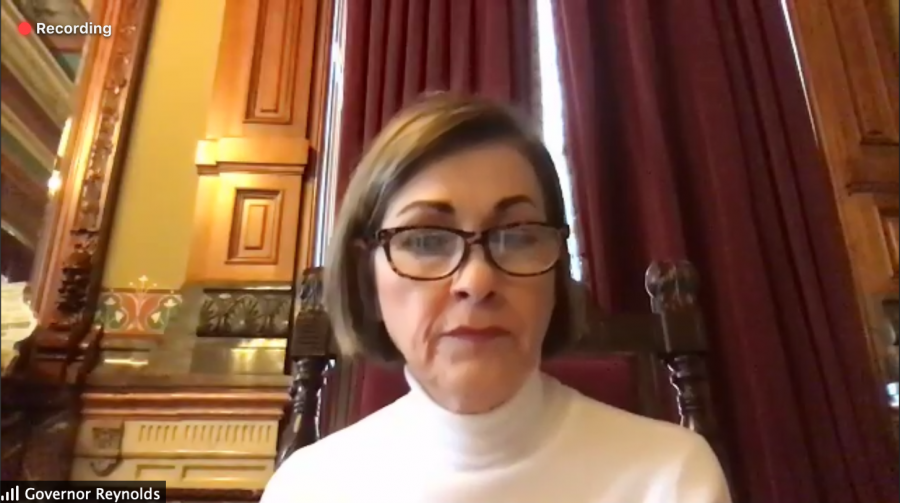Iowa Gov. Kim Reynolds speaks with reporters on a Zoom call Thursday, Jan. 7, 2021. She outlined her priorities for the upcoming legislative session, including her intention to shelve the Invest in Iowa Act, her signature legislation proposed in 2020.
