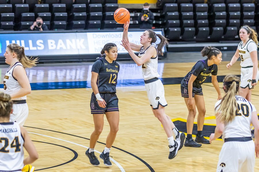 Iowa Guard Caitlin Clark shoots the ball during the Iowa Women's Basketball game against Northwestern on Jan. 28, 2021 at Carver-Hawkeye Arena. Northwestern defeated Iowa 87-80