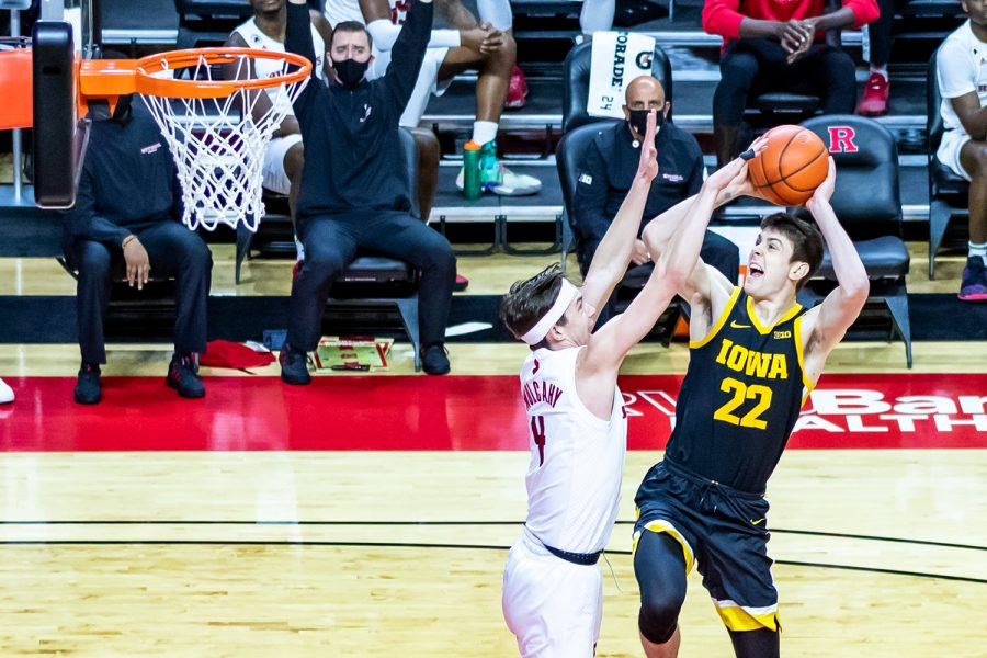 Iowa Forward Patrick McCaffery jumps for a layup during the Iowa vs. Rutgers Men's Basketball game on Jan. 2, 2021. The Iowa Hawkeyes defeated the Rutgers Scarlet Knights 77-75.