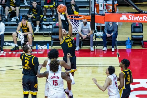 Iowa Forward Keegan Murray dunks the ball for a 2-point basket during the Iowa vs. Rutgers Men's Basketball game on Jan. 2, 2021. The Iowa Hawkeyes defeated the Rutgers Scarlet Knights 77-75.
