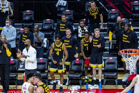 The Iowa Hawkeyes celebrate the foul performed by Rutgers that sent Luka Garza to the free throw line during the Iowa vs. Rutgers Men's Basketball game on Jan. 2, 2021. The Iowa Hawkeyes defeated the Rutgers Scarlet Knights 77-75.