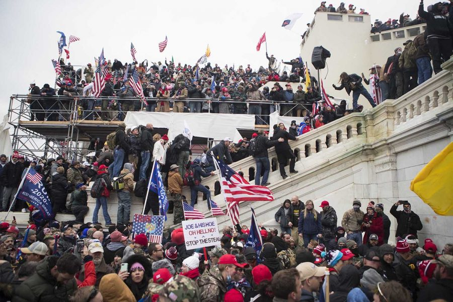 Jan 6, 2021; Washington, DC, USA; Trump rioters storm the U.S. Capitol Wednesday afternoon as lawmakers inside debated the certification of the presidential election.  Mandatory Credit: Jerry Habraken-USA TODAY
