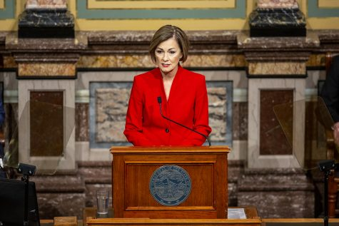 Gov. Kim Reynolds gives the State of the State address in the house chamber of the Iowa State Capitol on Tuesday, Jan. 12, 2021 in Des Moines. Gov. Reynolds highlighted in the address expansion of broadband internet, a push for in-person learning, and economic recovery from the COVID-19 pandemic.