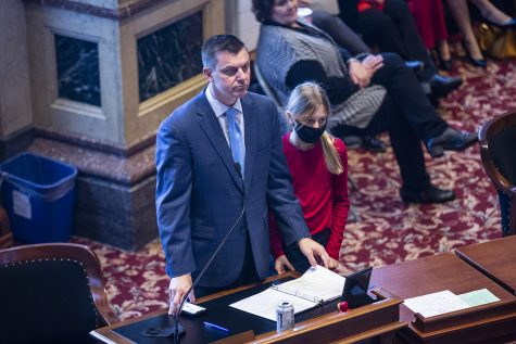 Iowa Senate Majority Leader Jack Whitver stands during the opening of the 2021 legislative session on Monday, Jan. 11, 2021 at the Iowa State Capitol in Des Moines. Legislative goals for the session include further tax cuts, expanding in-person learning, and moving towards economic recovery from the COVID-19 pandemic.