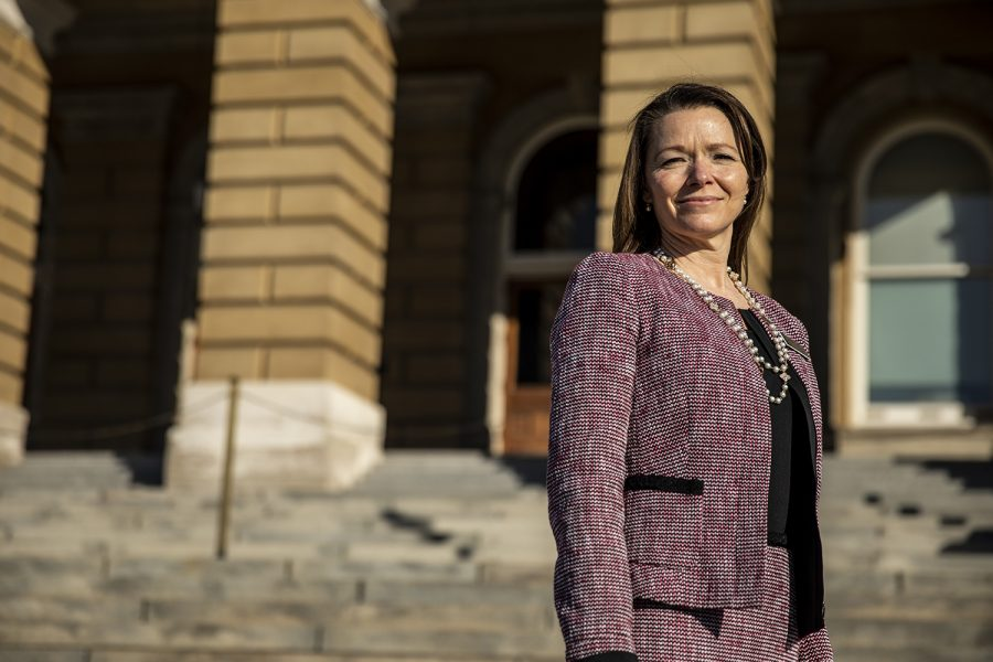 Rep. Christina Bohannan poses for a portrait outside the Iowa State Capitol on Tuesday, Jan. 12, 2021 in Des Moines. Bohannan represents the 85th district in Johnson county.