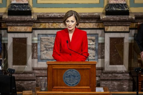 Gov. Kim Reynolds delivers the condition of the state address to a joint session of the Iowa House and Senate.