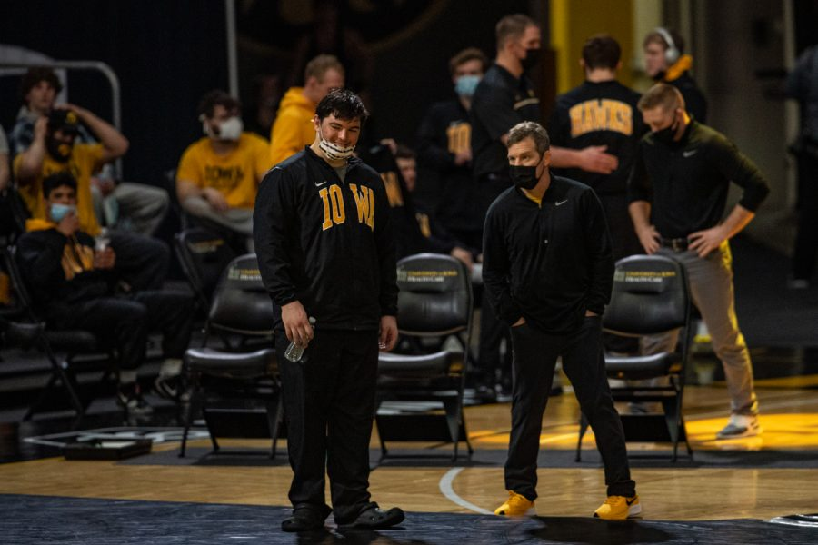 Iowa's Tony Cassioppi is introduced during a wrestling dual meet between Iowa and Illinois at Carver-Hawkeye Arena on Sunday, Jan. 31, 2021. The Hawkeyes defeated the Fighting Illini, 36-6.