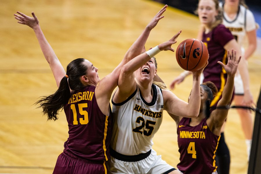 Iowa forward Monika Czinano looks to shoot during a women's basketball game between Iowa and Minnesota at Carver-Hawkeye Arena on Wednesday, Jan. 6, 2021. The Hawkeyes defeated the Golden Gophers, 92-79.