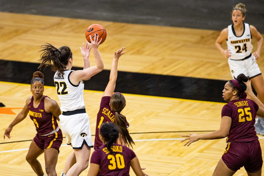 Iowa guard Caitlin Clark passes the ball during a women's basketball game between Iowa and Minnesota at Carver-Hawkeye Arena on Wednesday, Jan. 6, 2021. The Hawkeyes defeated the Golden Gophers, 92-79.