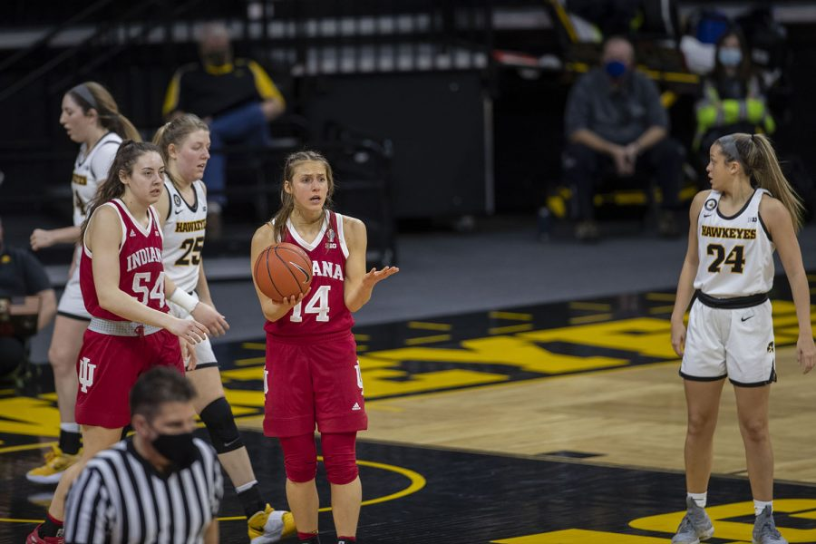 One of Indiana's players looks to their coach after a call from the referee during the Iowa Women's Basketball game against Indiana at Carver- Hawkeye Arena on Sunday, Feb. 7, 2021. Indiana defeated Iowa 85-72.
