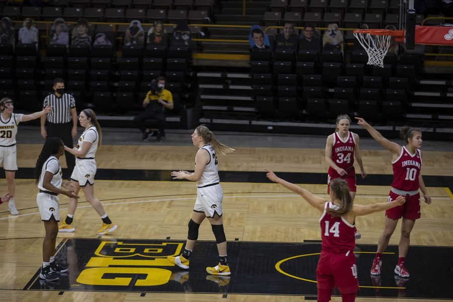 Iowa and Indiana argue who should have possession of the ball at the Iowa Women's Basketball game against Indiana on Sunday, Feb. 7, 2021, at Carver Hawkeye Arena. Indiana defeated Iowa 85-72.