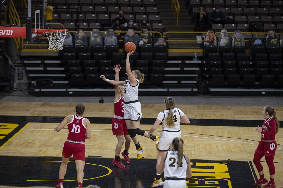 Monika Czinano drives to the hoop for a layup during the Iowa Women's Basketball game against Indiana at Carver Hawkeye Arena on Sunday, Feb. 7, 2021. Indiana defeated Iowa 85-72.