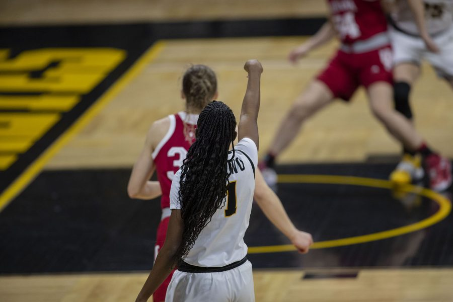 Tomi Taiwo shoots the ball at the Iowa Women's Basketball game against Indiana on Sunday, Feb. 7, 2021, at Carver Hawkeye Arena. Indiana defeated Iowa 85-72.