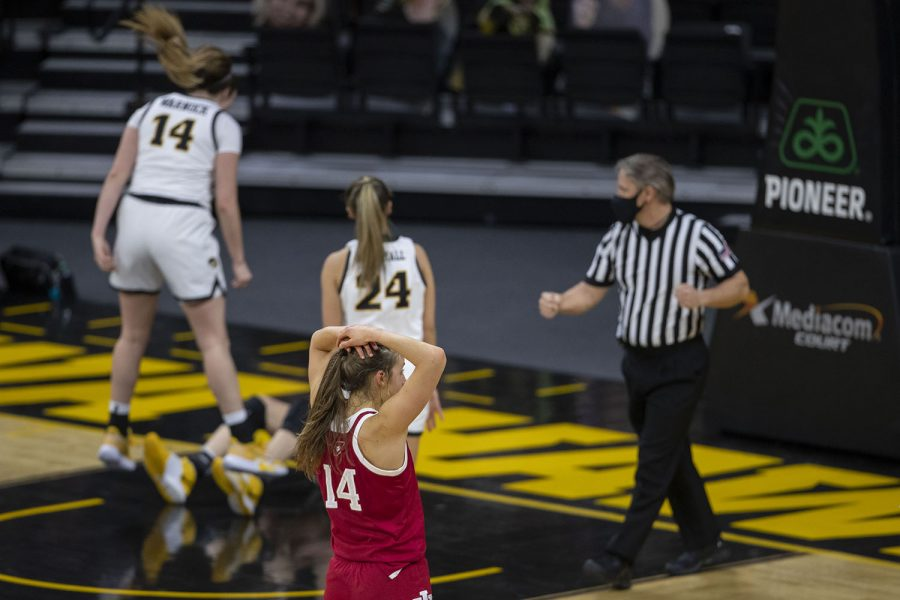 An offensive charge is called on Indiana during the Iowa Women's Basketball game against Indiana at Carver Hawkeye Arena on Sunday, Feb. 7, 2021. Indiana defeated Iowa 85-72.