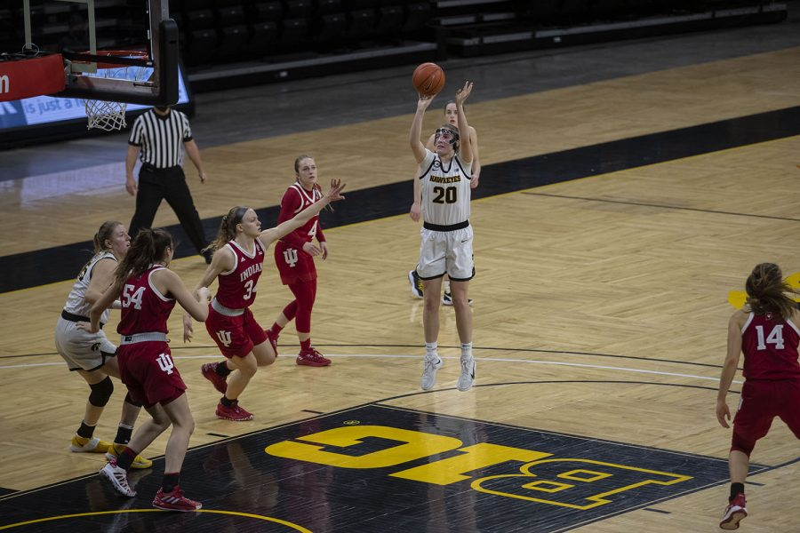 Kate Martin shoots the ball at the Iowa Women's Basketball game against Indiana on Sunday, Feb. 7, 2021, at Carver Hawkeye Arena. Indiana defeated Iowa 85-72.